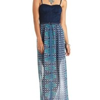 Crochet & Paisley Print Bustier Maxi Dress - Blue Combo