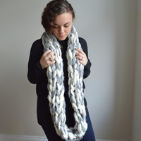 Chunky Knit Scarf - Alpaca and Merino Hand Knit Infinity Scarf - Snood