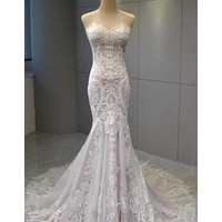 #VNDM291 - strapless fit-to-flare lace wedding gown