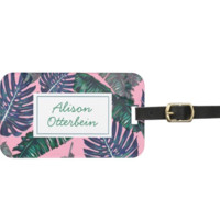 Pink and Palms Luggage Tag
