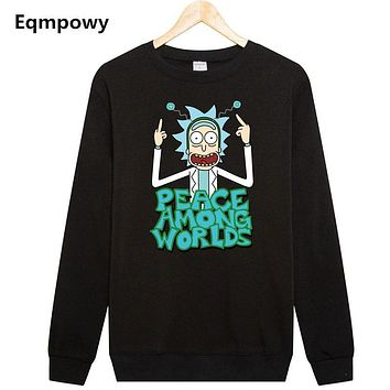 Eqmpowy 2017 harajuku Rick And Morty printed hoodie Sweatshirt men women tracksuit Mens Hoodies Sweatshirts Plus Size XXL