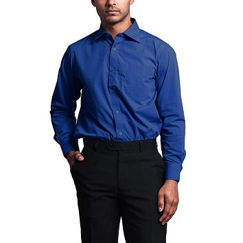 Regular Fit Long Sleeve Dress Shirt - Royal Blue