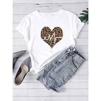 Heart And Leopard Print Tee