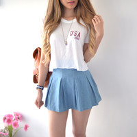 Chambray Pleated Skirt