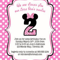 Pink Birthday Invitation, Girl Birthday Invites, Minnie Mouse Party, Girl Birthday, Minnie Mouse Invitation
