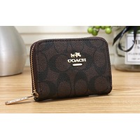 COACH Hot Selling Lady's Zipper Printed Small Wallet Coffee