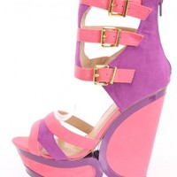 Coral Colorblock Buckled Wedges Faux Suede