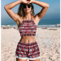 Retro folk-custom colorful print high neck halter two piece bikini Four piece suit