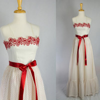 Vintage 70s Prom Dress Holiday Party White & Red Polka-dots Vickie Vaughn Jrs Flower Embroidery Full Length Gown