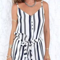 black and white h&m style Jumpsuit short dress  for summer  = 4769393732