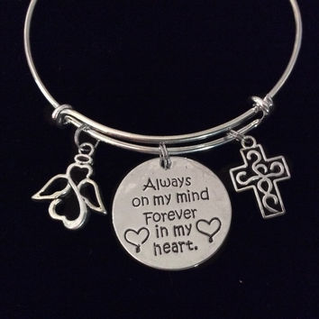 Always on My Mind Forever in My Heart Expandable Charm Bracelet Adjustable Wire Bangle Silver Memorial Gift Guardian Angel Cross