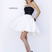 Black Beaded Sherri Hill Short Prom Dress 32154