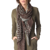 Brown printed scarf in fine knit