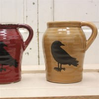 Ceramic Jug with Crow Accent for rustic decor