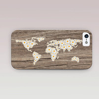 Floral World Map Phone Case For - iPhone 6 Case - iPhone 5 Case - iPhone 4 Case - Samsung S4 Case - iPhone 5C -  Matte Case - Tough Case