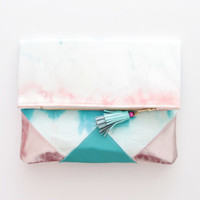 SUNSET 41 / Shibori dyed cotton & Natural leather folded clutch bag - Ready to Ship