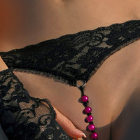 Hot Pink Beads Open G-String