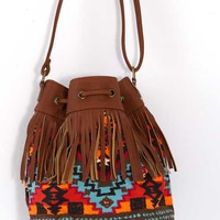Fringe Crossbody Purse Bucket Bag with Aztec Print in Tan BA0056-AG-TAN