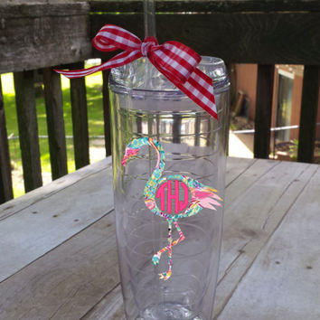 Fun Flamingo Lilly Pulitzer Inspired Monogrammed Tumbler! ~ bring a little summer with you everywhere you go!