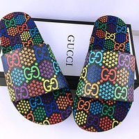 Gucci Sandals 2020 New Lightweight Outsole Loose Comfortable Slipper Jumping Candy Color Double G Print