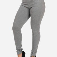 Grey High Waisted Banded Pants