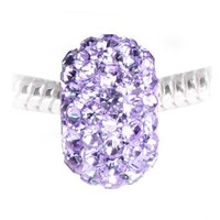 Sparkling Purple Lilac Rhinestone Bead for Her European Style Charm Bracelet