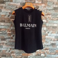 """Balmain"" Women Simple Print Letter Sleeveless Vest Buttons Decoration T-shirt  Cotton Tops"