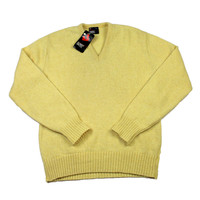 Vintage Deadstock 1980s Robert Bruce Yellow Wool Blend Sweater Mens Size Small