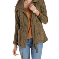 Olive Convertible Hooded Anorak Jacket by Charlotte Russe