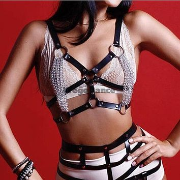 Faux Leather Body Harness With Chain Sculpting Chest Belt