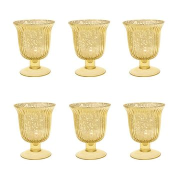 6 Pack | Vintage Mercury Glass Candle Holders (5-Inch, Emma Design, Fluted Urn, Gold) - Decorative Candle Holder - For Home Decor, Party Decorations, and Wedding Centerpieces
