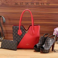 LV Louis Vuitton 2018 new women's high quality three-piece Messenger bag F-KSPJ-BBDL red