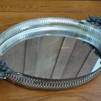 Vintage Ornate Silver Toned Oval Mirrored Dresser Vanity Tray