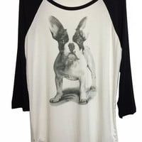 Grey Scale Puppy Print Long Sleeve Top