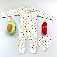 Organic Baby Gift Set - Food Onesuit, Bib & Rattle Toys | Avocado & Hot Sauce