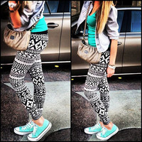 All Season Fashionable Stretchable Black and White Patterned Pants Leggings A969
