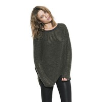 Womens Dark Grey/Olive Ema Reversible Pullover Sweater By One Grey Day