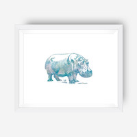 inspirational wall print art print nursery art print - watercolor hippo