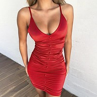 New fashion solid color leisure straps dress women Red