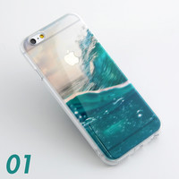 Ocean Wave Scenery Print Soft TPU Transparent Phone Back Case Cover Shell For iPhone 5 5S 6 6s 6 Plus 6s Plus 7