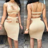 Strappy Cut-out Bodycon  Skirt Set
