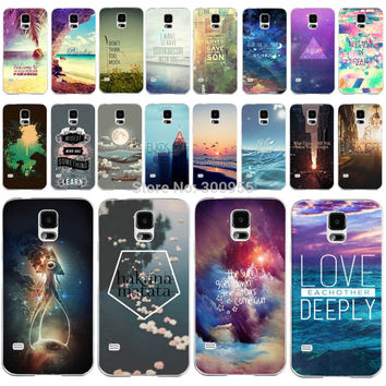 Beautiful Secnery Colorful Printed Back Cases Cover For Samsung Galaxy S5 fundas capa coque Hard Plastic Phone cases Accessories