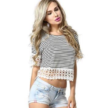 Summer Women's Fashion Lace Patchwork Stripes Short Sleeve T-shirts [4970289796]