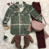 Penny Plaid Flannel Top: Sage/Ivory