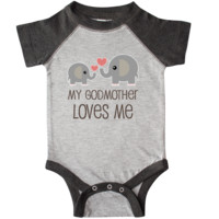 My Godmother Loves Me Infant Creeper Heather and Smoke $24.99 www.personalizedfamilytshirts.com