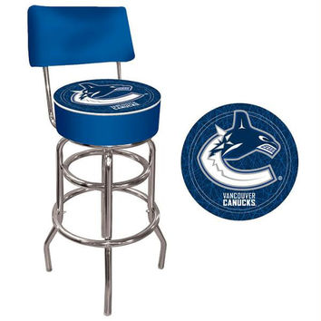 NHL Vancouver Canucks Padded Bar Stool with Back