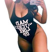 FASHION PRINTING LETTERS ONE PIECE SWIMSUIT