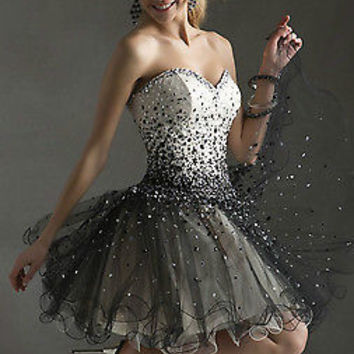 New Sexy Sweetheart Homecoming Dresses Beaded Short Cocktail Party Prom Gown