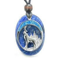 Howling Wolf and Moon Amulet Good Luck Powers Sodalite Gemstone Pendant on Adjus