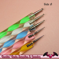5 pc 2 Sided NAIL ArT DOTTiNG TOOL Modeling, Painting, Miniature, and Sculpting Polymer Clay Metal Ball Helix Stylus USA Shipping